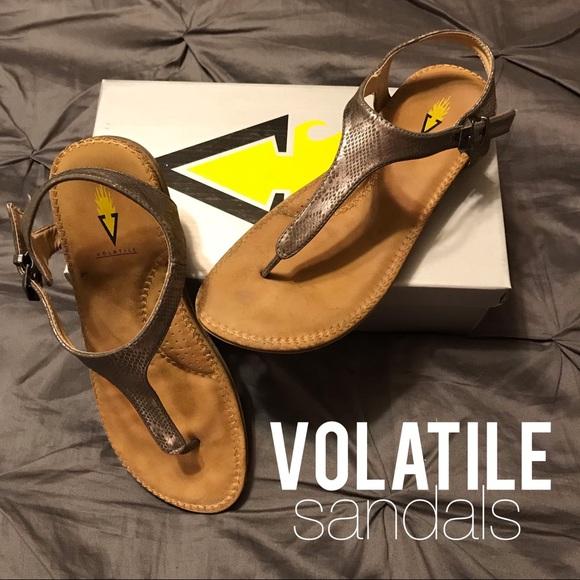 Volatile Shoes Reese Pewter Snakeskin Sandals Size 9 Poshmark